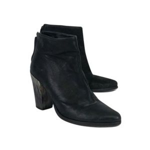 All Saints Blk Leather Stacked Heel Boots Booties